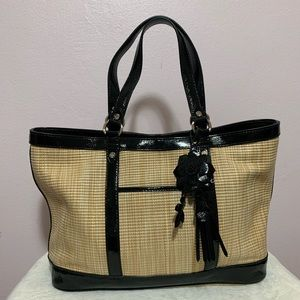 Cole Haan woven bag/ patent leather trim